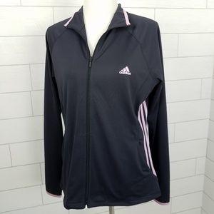 Adidas Size Large Gray Full Zip Activewear Jacket
